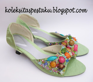 Sepatu Pesta Handmade Hijau Muda Cantik Buat Paket Hantaran