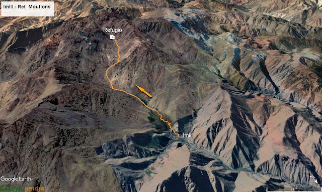 Map3D con la ruta señalizada hasta el Refugio de Toubkal