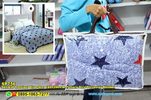 Selimut Rossinni Blue Star 180x200 Cm Pattern Biru Polyester Blanket