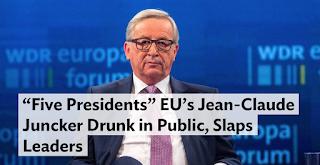 """""""Five Presidents"""" EU's Jean-Claude Juncker Drunk in Public, Slaps Leaders"""
