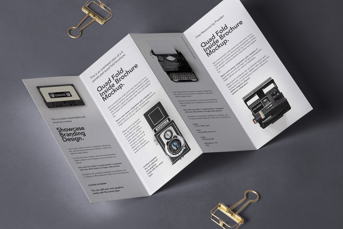 Brochure Folds with Metal Clips Mockup