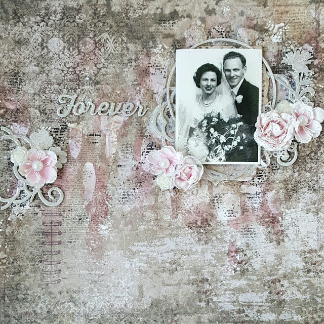 Blue Fern Studios vintage wedding mixed media layout