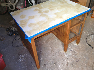 stained wood vintage desk