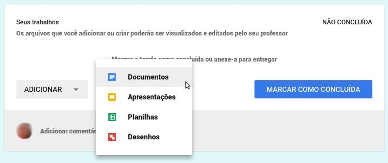 Enviar tarefas pelo Google Drive