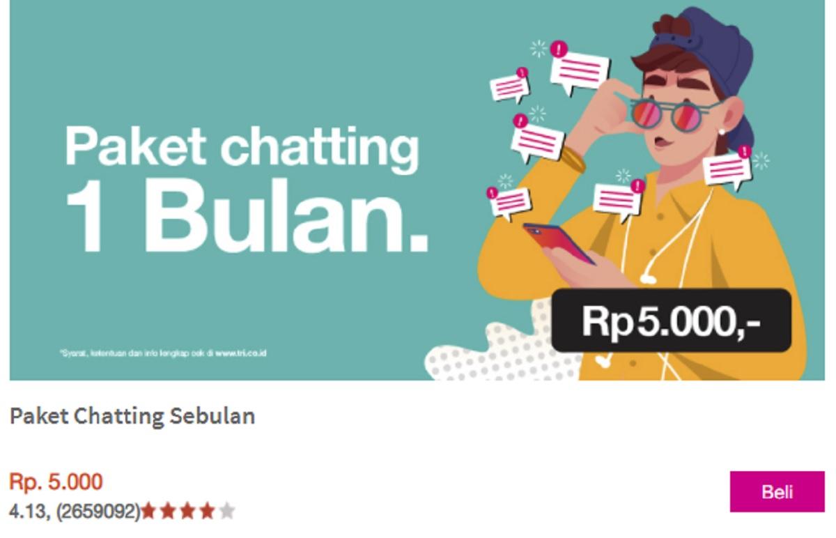 Cara Daftar dan Berhenti Berlangganan Paket Chatting Tri Sebulan 5000 Rupiah