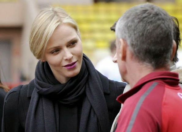 Princess Charlene attended the Sainte Devote rugby tournament match at the Louis II Stadium in Monaco