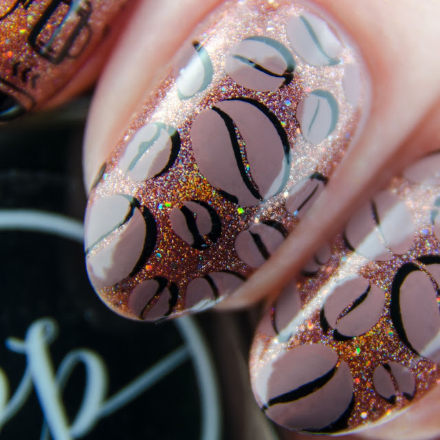 """Painted Polish """"Stamped in Mocha"""" stamping swatch"""