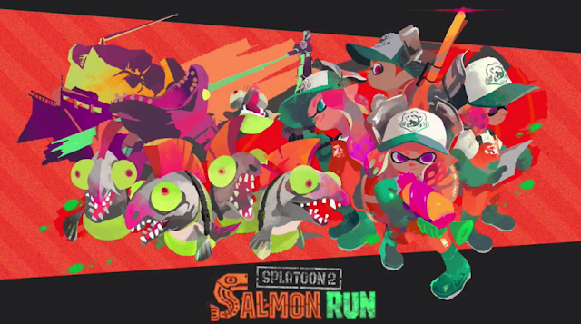 Splatoon 2 Salmon Run mode official art salmonid inklings Nintendo Switch