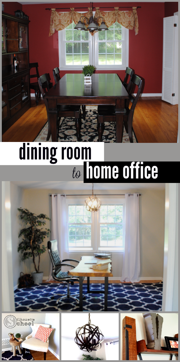 home office before and after, dining room to home office, home office reveal, make over, red dining room, main floor home office