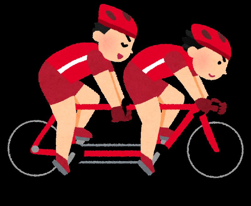 自転車タンデムのイラストパラリンピック かわいいフリー素材集