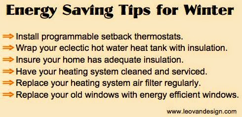 Winter energy saving tips infographic from www.leovandesign.com.