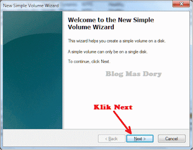 New Simple Volume Wizard, klik Next Blog Mas Dory