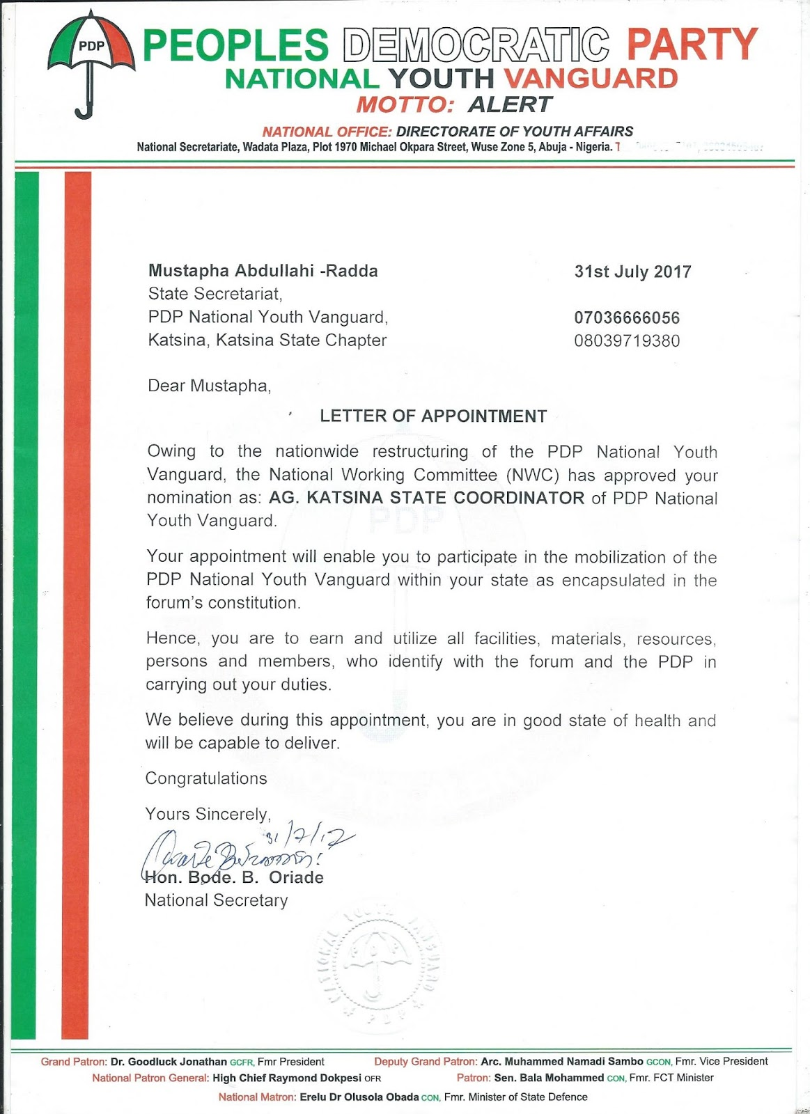Breaking makarfi appoints mustapha radda as coordinator pdp youth after his decampment to pdp he was immediately appointed as the director communication to umar abdullahi tsauri campaign organization where he made altavistaventures Images
