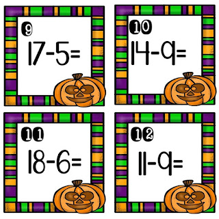 Do you need a fun and engaging way to review addition and subtraction skills? Halloween themed addition and subtraction task cards offer your students a way to review basic skills in an interactive format. Hang them up and students can walk around the room with a clipboard or place them at student desks for students to walk around to read and answer each problem. You can even leave them in a bin for early finishers. (K, 1, 2)