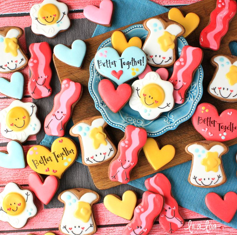 Valentine's Day toast, egg, and bacon decorated sugar cookies