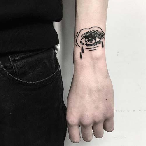 ağlayan göz erkek bilek dövmeleri eye wrist tattoos for men