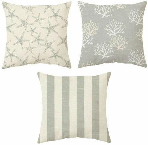 Gray Beige Coastal Beach Pillow Covers