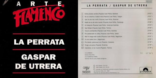 "GASPAR DE UTRERA / MARÍA LA PERRATA; PACO DE LUCÍA, RAMÓN DE ALGECIRAS, PEDRO PEÑA ""ARTE FLAMENCO"" CD 1994 ORBIS FABRI - POLYDOR"