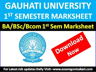 Download GU BA/BSc/B.Com 1st Semester Marksheet 2019