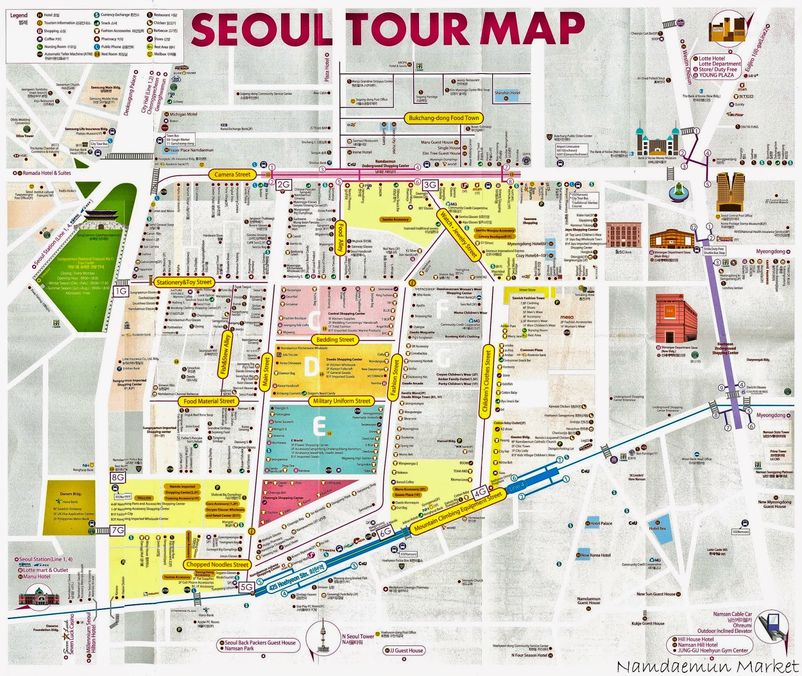 Seoul Korea Map In English.Request Anyone Got A Map Of 남대문시장 Showing What Is Sild In Each