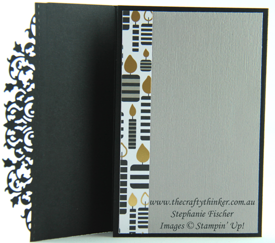 #thecraftythinker , #cardmaking , #youthfulcard , #delicatelaceedgelit , Broadway Bound, Delicate Lace Edgelit, Masculine card, Black and White card, Stampin' Up Australia Demonstrator, Stephanie Fischer, Sydney NSW