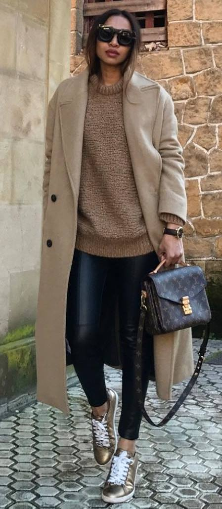 casual style obsession / nude long coat + sweater + black skinnies + bag + golden sneakers