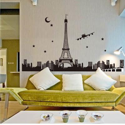 Contoh Dekorasi Wall Sticker 3D Pada Ruang Keluarga