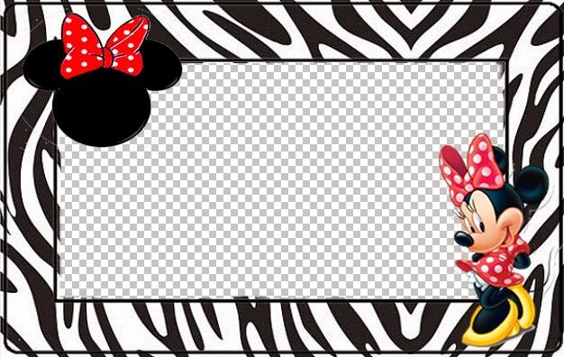 Para hacer invitaciones, tarjetas, marcos de fotos o etiquetas, para imprimir gratis de Minnie Cebra y Rojo.
