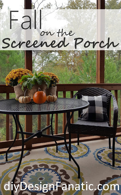 screened porch, cottage, cottage style, farmhouse, farmhouse style, Fall, Fall Decorating,  Cat Cave, Lighted Grapevine Orb, diyDesignFanatic.com