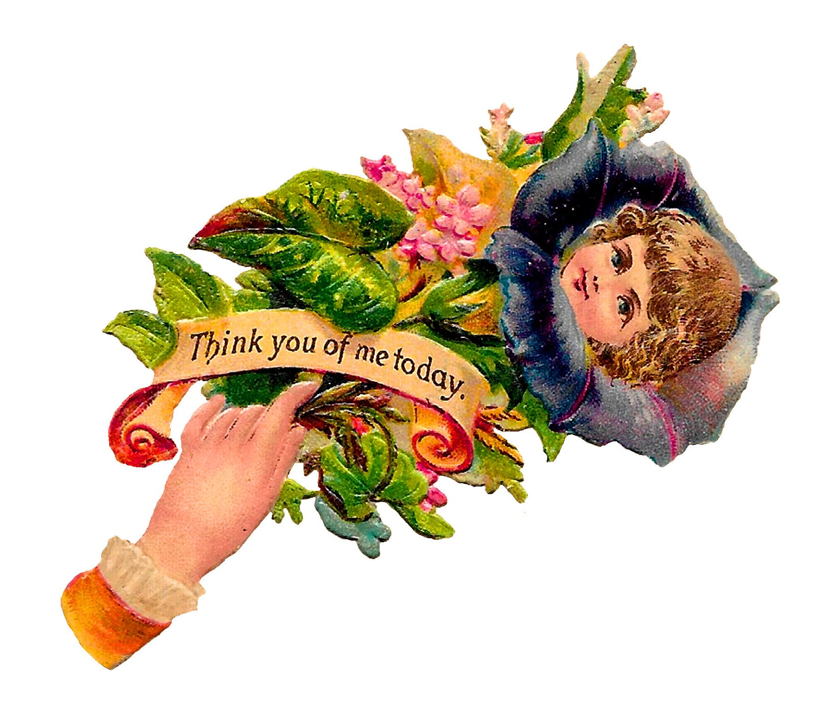 flower floral victorian hand whimsy image antique diecut clipart [ 1600 x 1417 Pixel ]