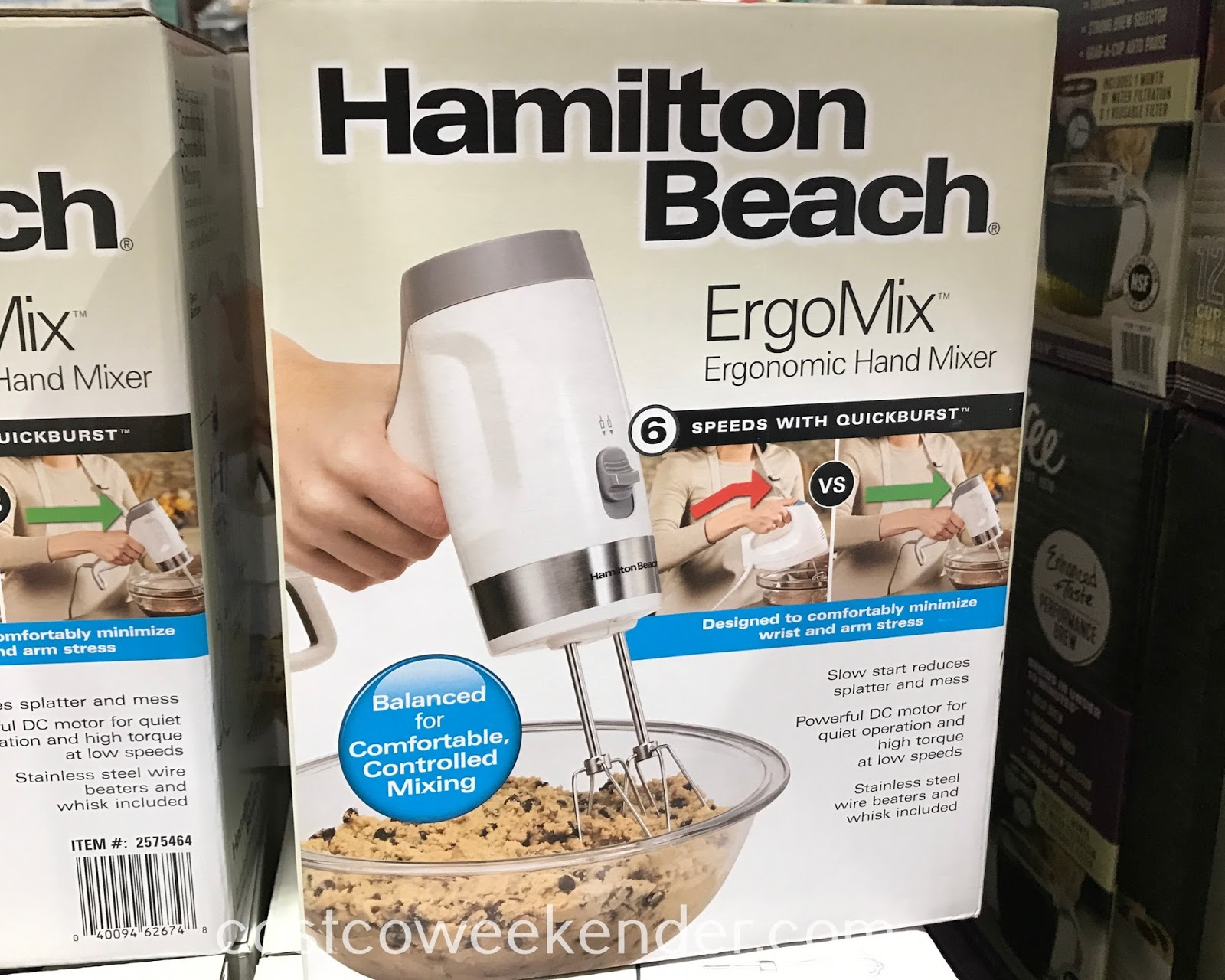 Easily mix batter or dough with the Hamilton Beach ErgoMix Ergonomic Hand Mixer