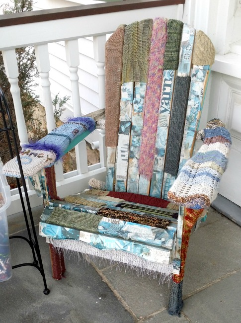yarn bombing Adirondack chair