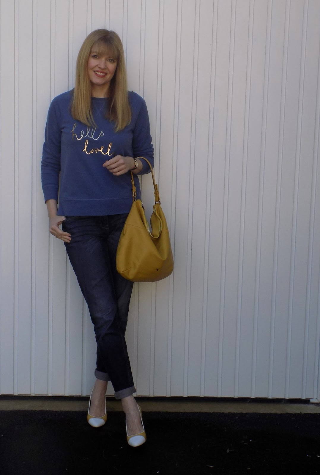 Boden slogan hello lovely sweatshirt and yellow Yull shoes
