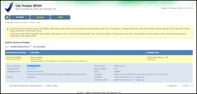 Nomor Registrasi BPOM Vienna Herbal Breast Cream NA18170104685