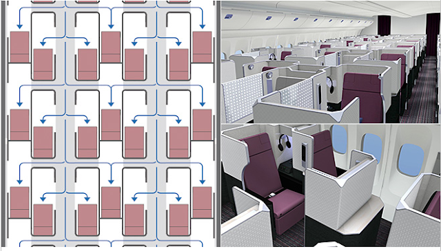 Layout of JAL new business class cabin with SKY SUITE
