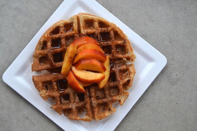 Peach Zucchini Protein Waffles