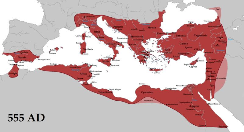 The Byzantine Empire at its greatest extent (555 AD)