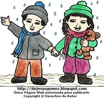 Dibujo de la estación de invierno a color  (Niños en plena lluvia en invierno). Dibujo de la estación de invierno hecho por Jesus Gómez