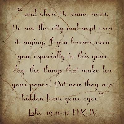 Bible Verse Luke 19:41-42 Mount of olives Israel