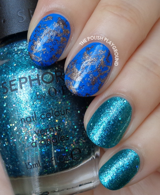 Blue and Suede Saran Wrap Nail Art