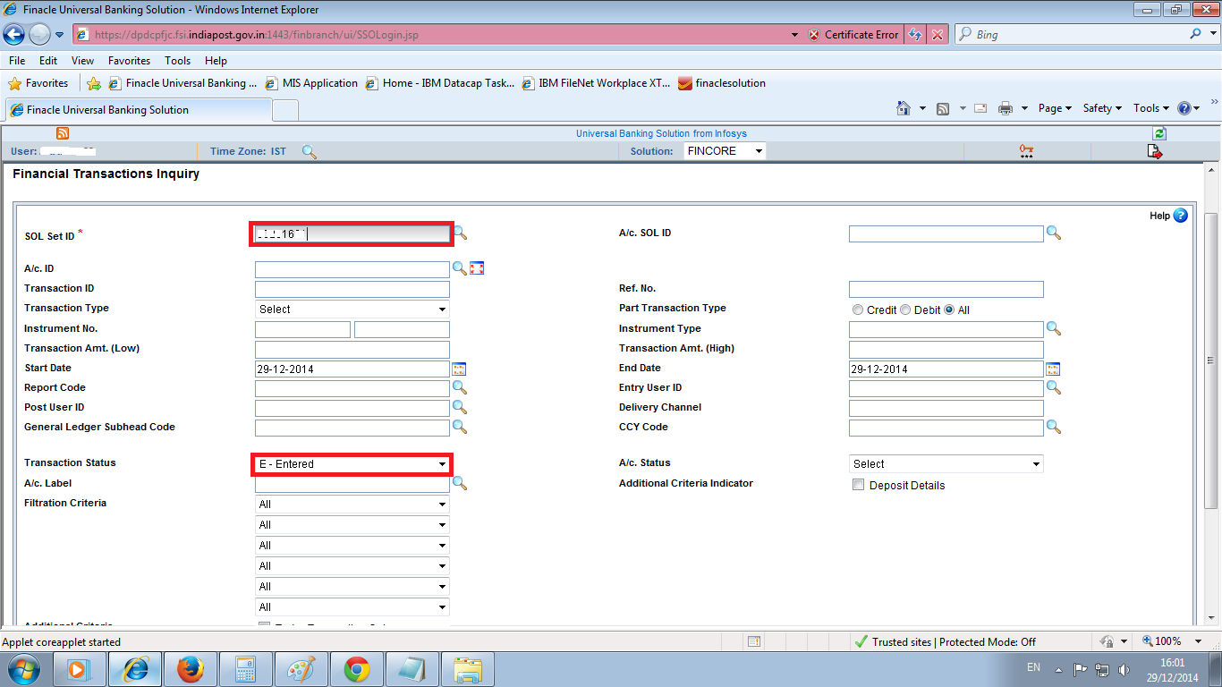 Step By Step to Check EOD Blocking Validation by Finacle