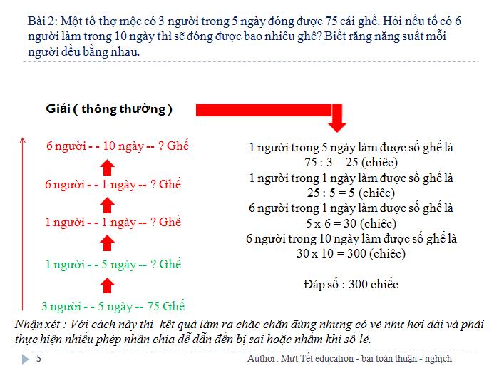 Các dạng bài toán tỉ lệ thuận - nghịch - Toán 5 (Tiết 1) (5)