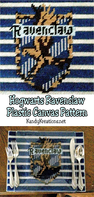 Show your Hogwarts house love with this printable Ravenclaw house logo plastic canvas pattern.  You can use it as a place mat, a pennant banner, or in any way you need for your Harry Potter party.  Plus, you can find the other Hogwarts house logos for plastic canvas patterns here.