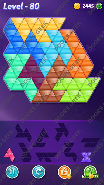 Block! Triangle Puzzle 8 Mania Level 80 Solution, Cheats, Walkthrough for Android, iPhone, iPad and iPod