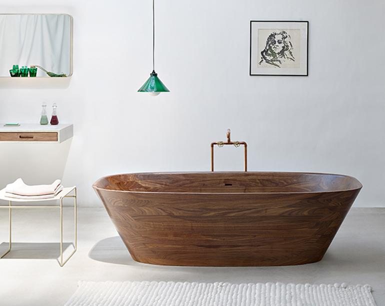 bañera madera ovalada