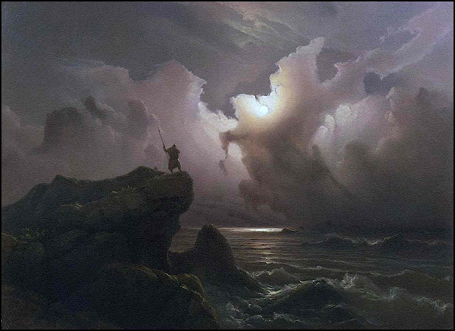 a Knud Andreassen Baade painting, man viewing moon over stormy sea