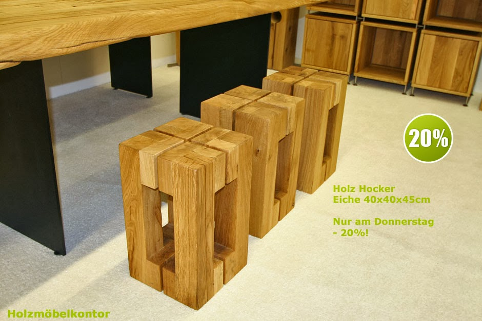 wohnkantine wohnideen vom holzm belkontor holzhocker massiv und dekorativ. Black Bedroom Furniture Sets. Home Design Ideas