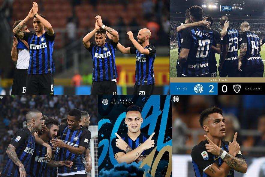 Inter-Cagliari 2-0, risultato firmato Lautaro Martínez e Politano.