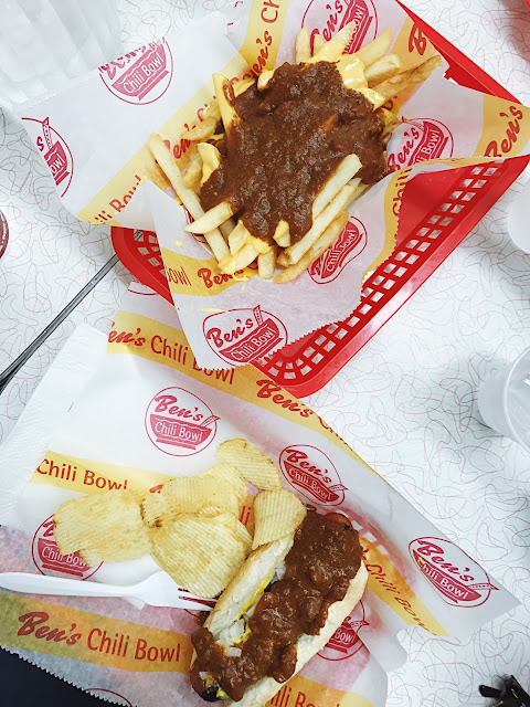 half smoke and cheese fries at Ben's Chili Bowl on U Street in D.C.