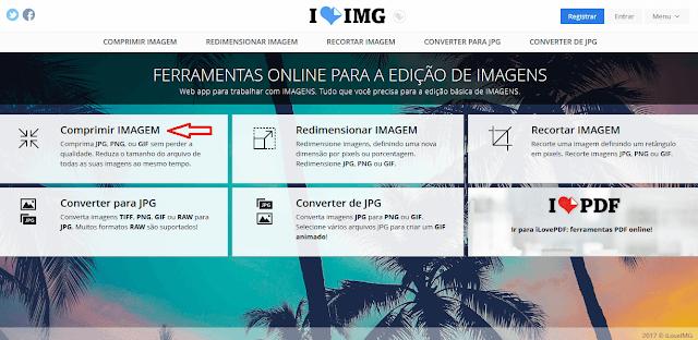 Site IloveIMG para comprimir imagens